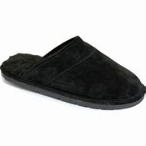 Lamo Black Scuff Slippers Suede Faux Fur Lining XL